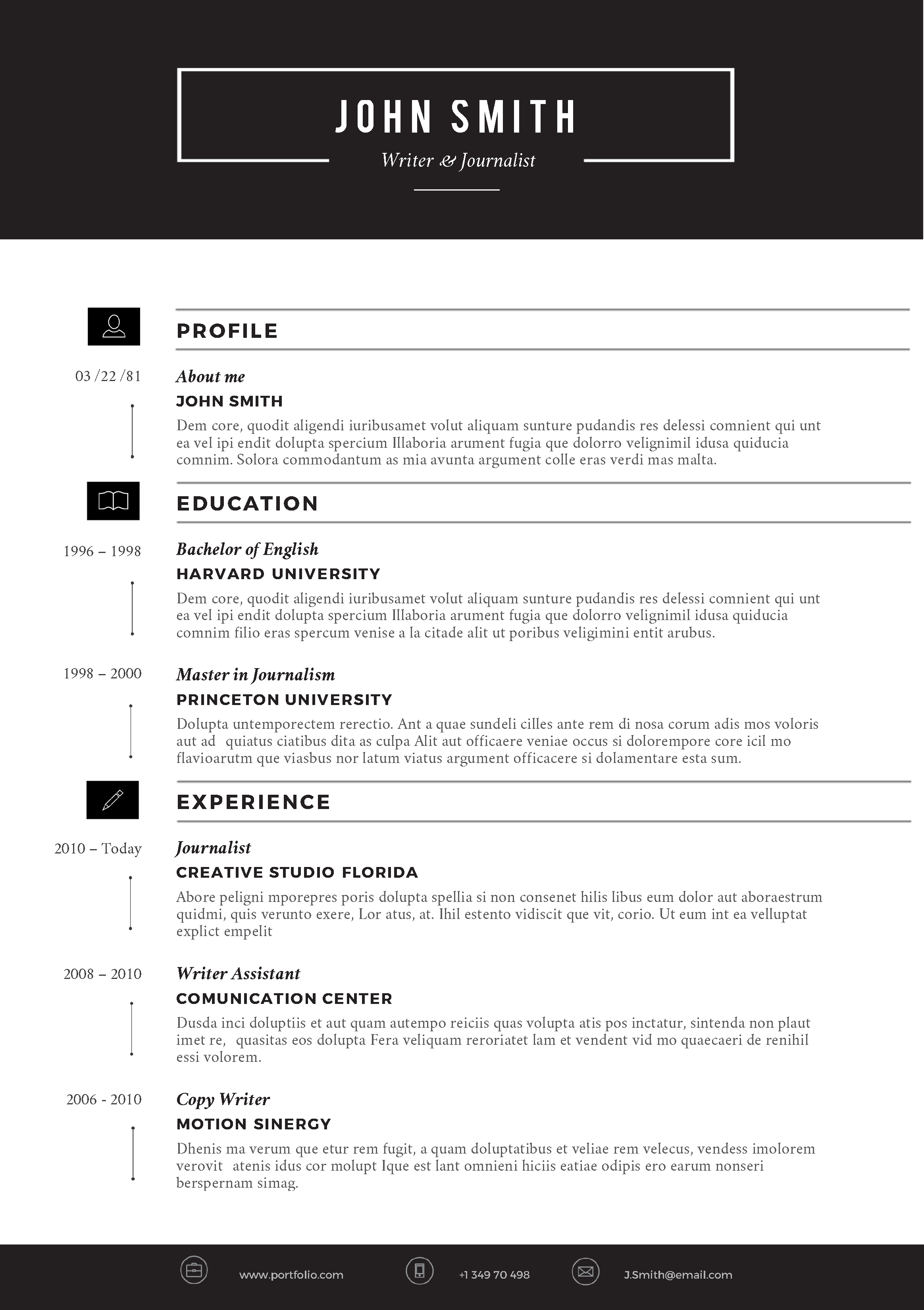 resume template with white space
