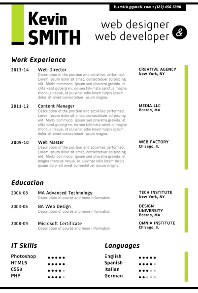 WEB DESIGNER Resume Template - Trendy Resumes - web design resume