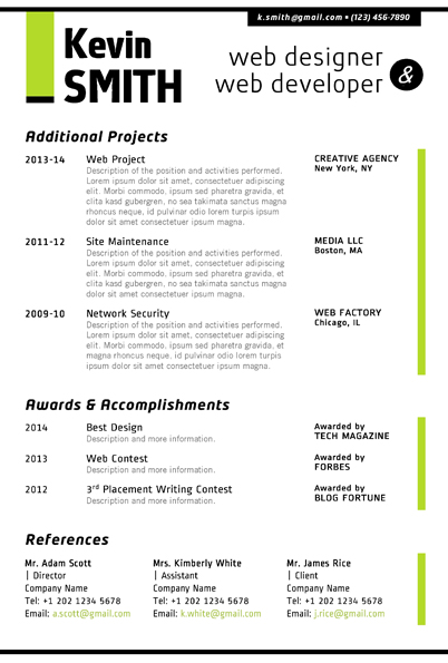 WEB DESIGNER Resume Template - Trendy Resumes - web design resume example