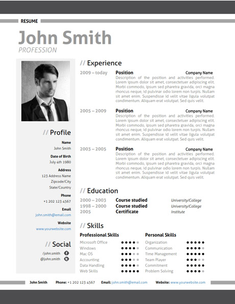 black modern resume template - Eczasolinf