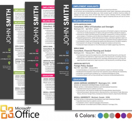 Trendy Resume Templates for Word/Office - Microsoft Office Resume Template