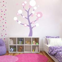Polka Dot Tree Wall Art Design | Trendy Wall Designs