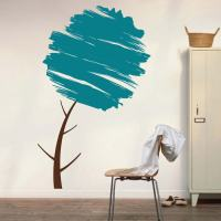 Water Brush Tree Wall Art Design   Trendy Wall Designs