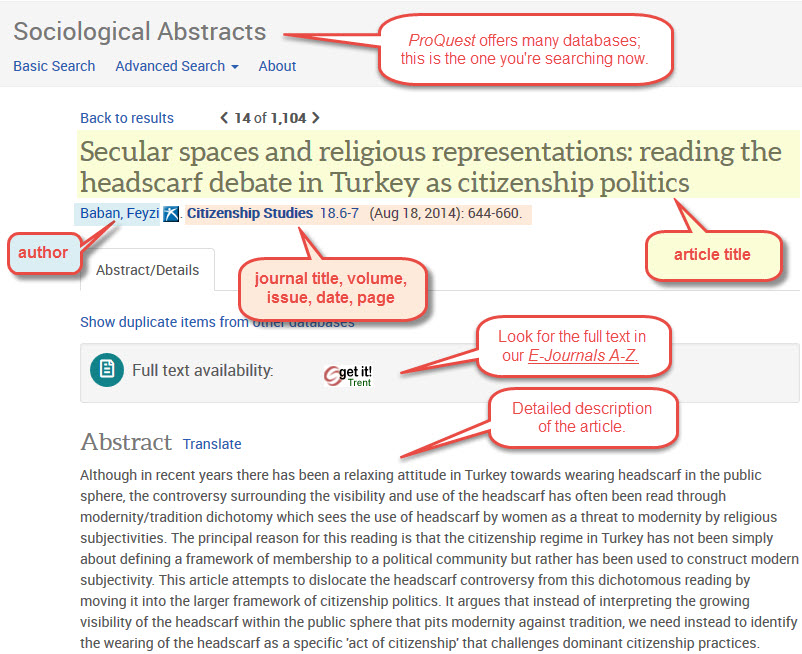 Using Sociological Abstracts Effectively Trent University Library - running title scientific paper