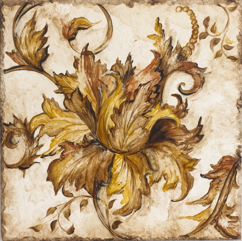 Baroque Floral Scroll I Wall Plaque - baroque scroll designs