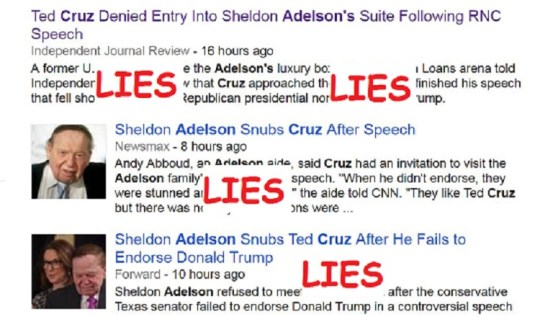 Mainstream media spews lies about Ted Cruz being turned away from Adelsons' suite at RNC