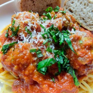 Spaghetti and Meatballs with Diavolo Sauce