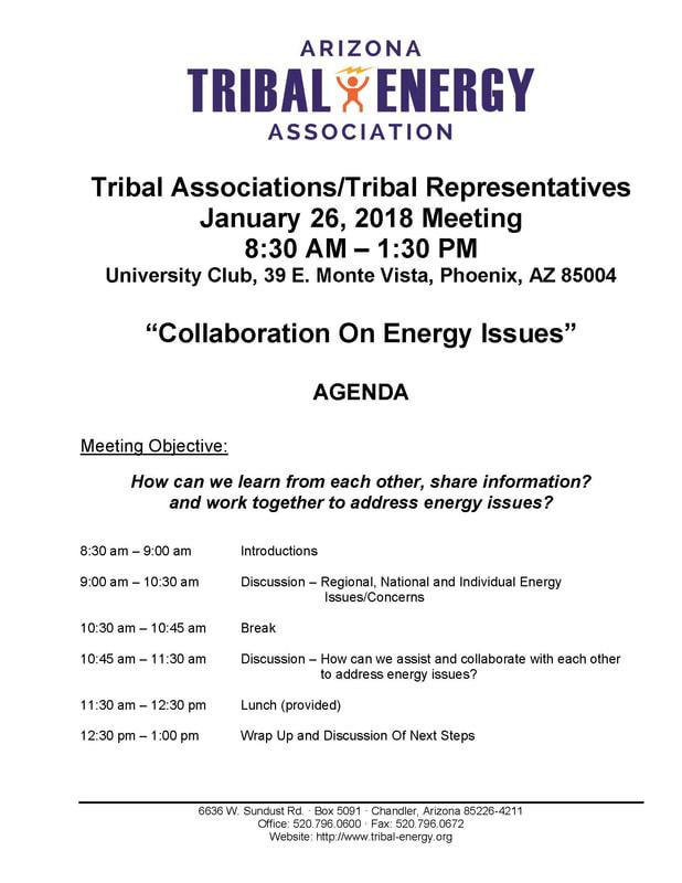 Events - ARIZONA TRIBAL ENERGY ASSOCIATION - collaboration meeting agenda