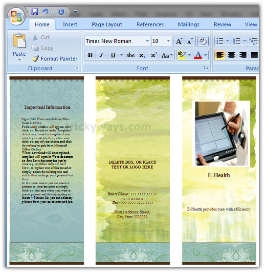 creating a pamphlet in word