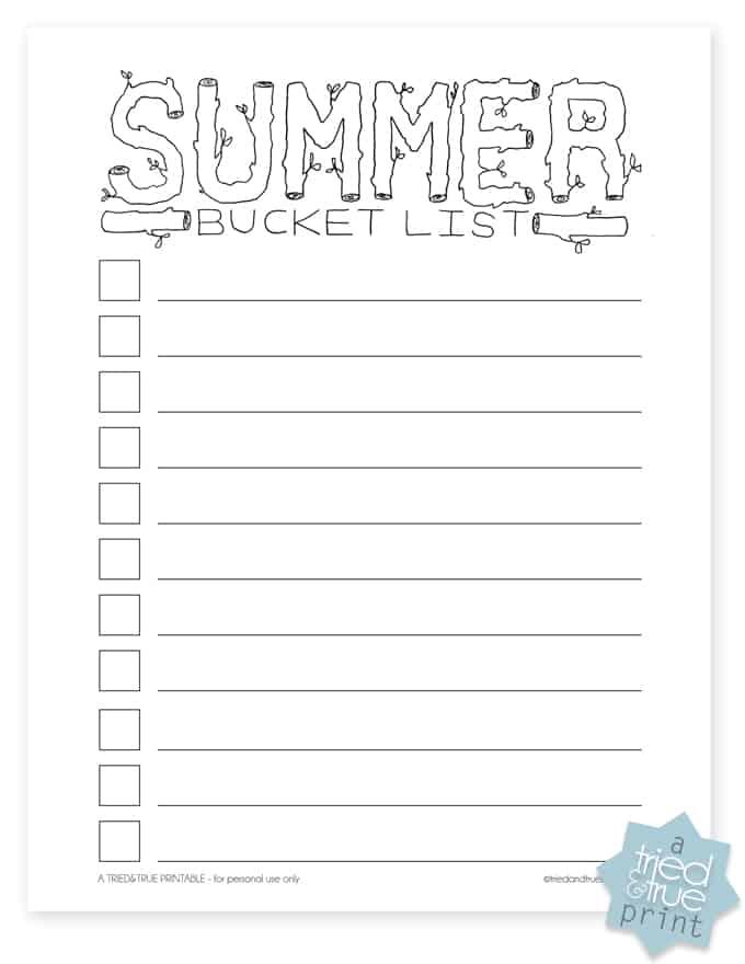 Summer Bucket List Free Printable - Tried  True