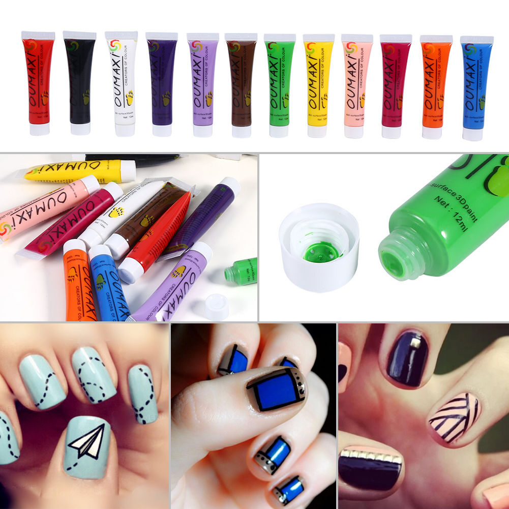 Tripleclickscom 12 Colors Acrylic Paint Nail Art Uv Gel