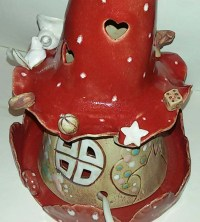 TripleClicks.com: Unique Night light Red Ceramic Lamp Handmade