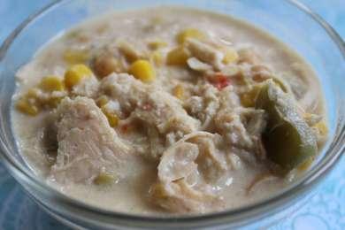 white chicken chili close up