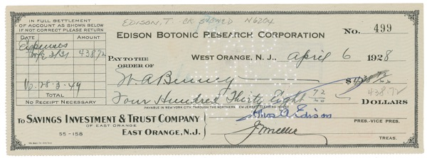 Thomas Edison Signed Check Trish Hessey Autographs