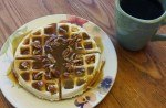 waffle with pecans, homemade syrup and coffee