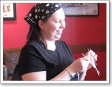 Julie, another first timer, is also working on sock--from her own handspun!
