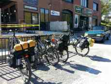 Here's a picture of our bikes with our panniers and the camping equipment.