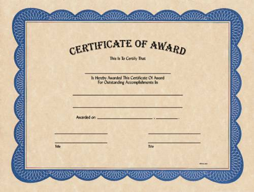 Blank Certificate of Award Award Certificates from TrophyKits - blank certificate of recognition