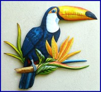Painted Parrot Metal Art - Handcrafted Tropical Designs