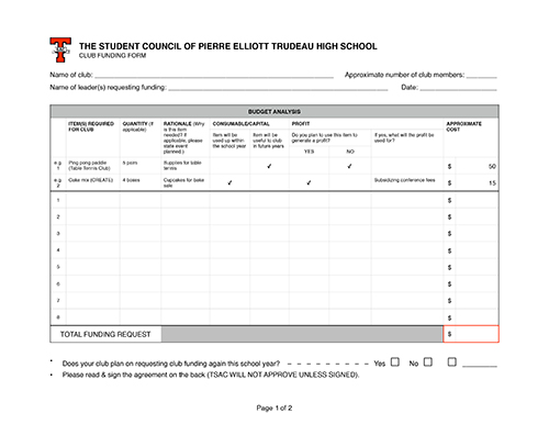 Trudeausac Club Resources - funding request form