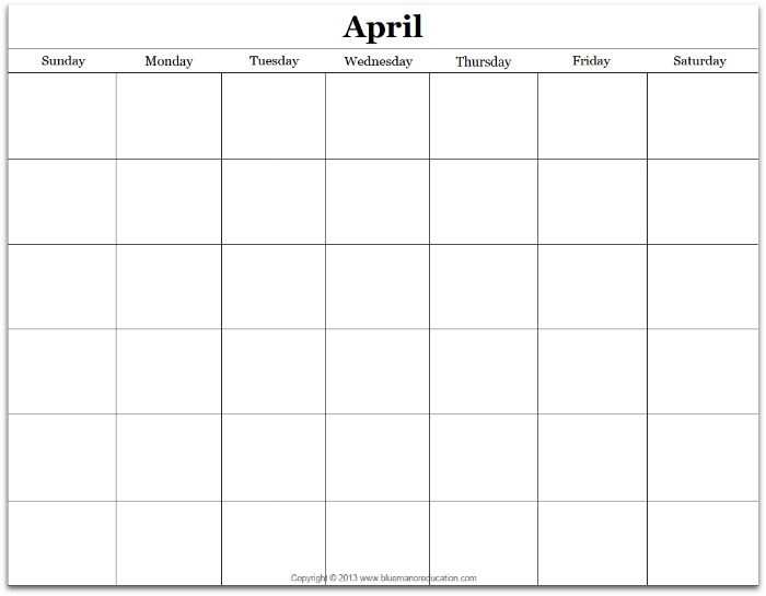 Free Monthly Blank Calendar Printable - Any Year True Aim - Printable Blank Calendar