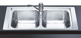 20 Bowl Stainless Steel Flush Fit Inset Kitchen Sink