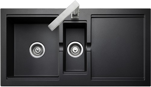 15 Bowl Granite Onyx Finish Kitchen Sink Reversible