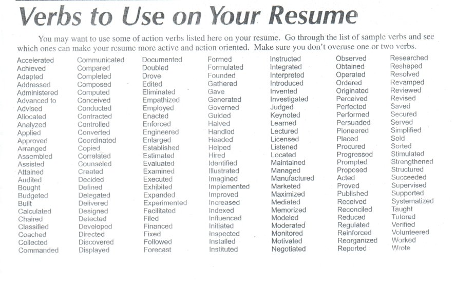 resume action verbs list