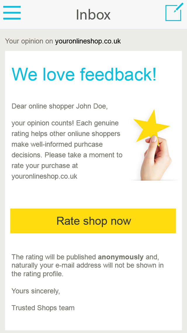 Features for better Customer Reviews Trusted Shops - product review template