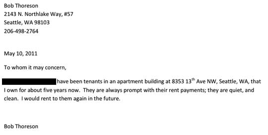 Housing Reference Letter. Landlords Reference Letter Template
