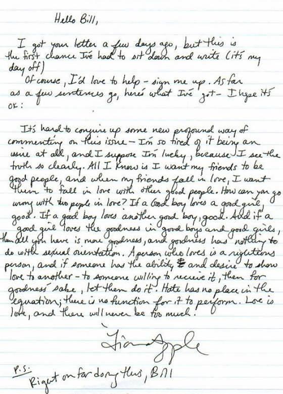 Fiona Apple\u0027s Letter To A High School Fan Starting a GSA Truth - How To Start A Letter
