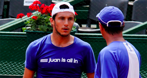 Juan Monaco practices ahead of the Feb 2013 Davis Cup tie against Germany