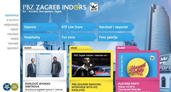 PBZ Zagreb Indoors - 2013 tennis tournament website