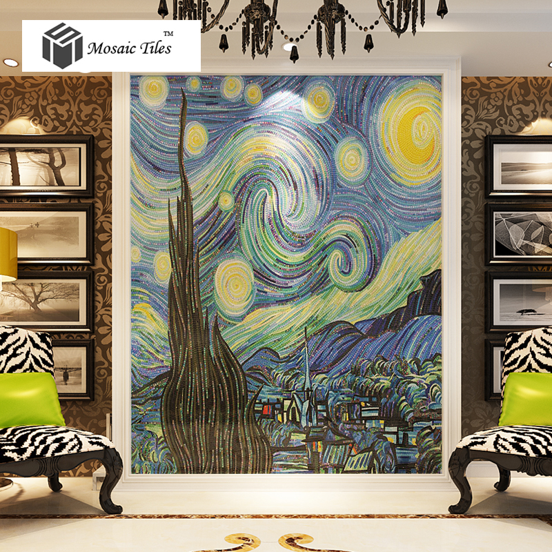TST Mosaic Murals Van Gogh Oil Painting The Starry Night