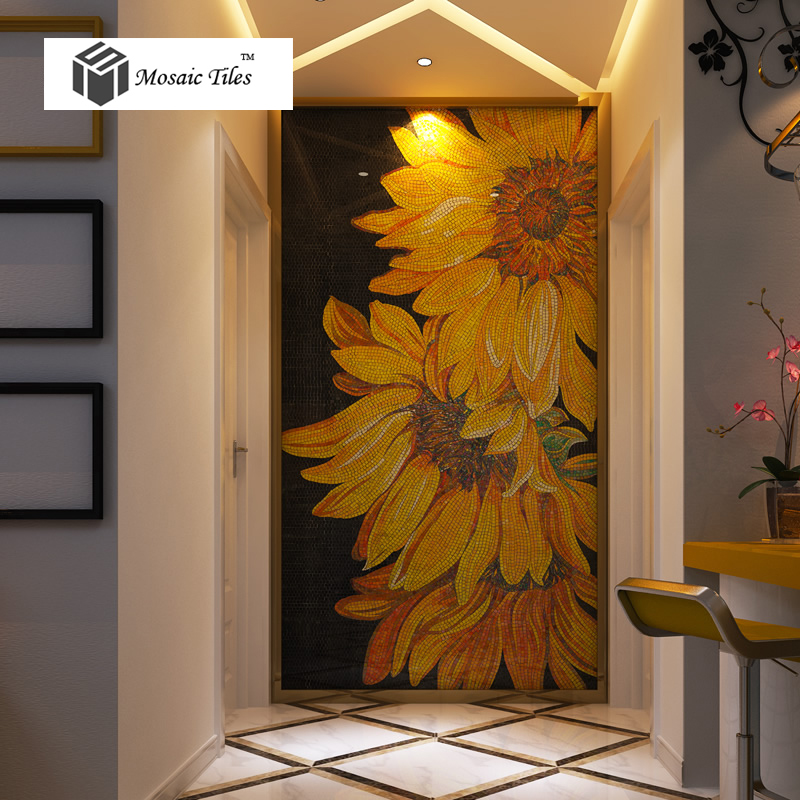 3d Flower Mural Wallpaper Tst Mosaic Mural Sunflowers Parquet Unique Art Background