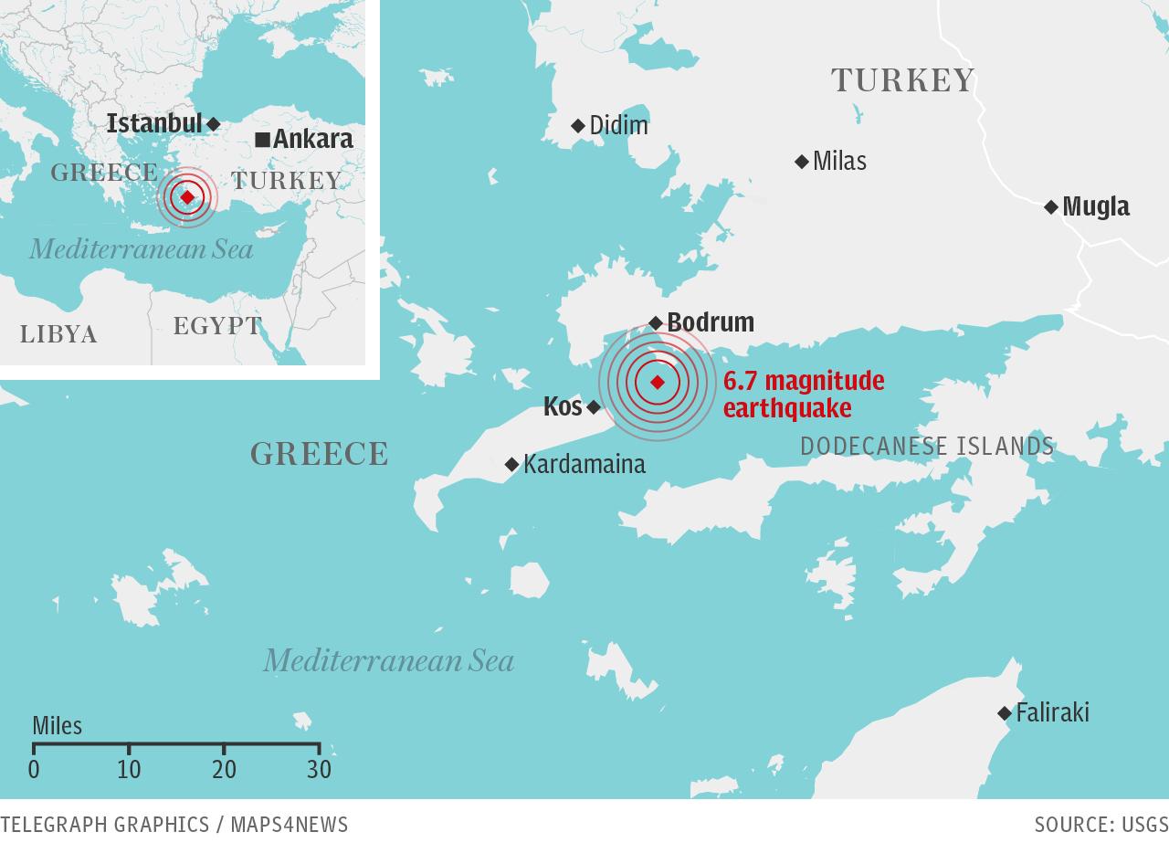Earthquake rocks Greece and Turkey: Two dead on Kos as tourists flee amid tsunami