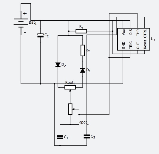 Variable PWM Generation 555 Timer IC