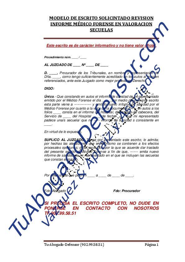 Modelo de escrito solicitando revisión informe médico forense por - formato de informe escrito