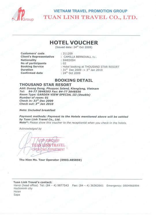 Sample of our hotel voucher, Company documents - example of a voucher