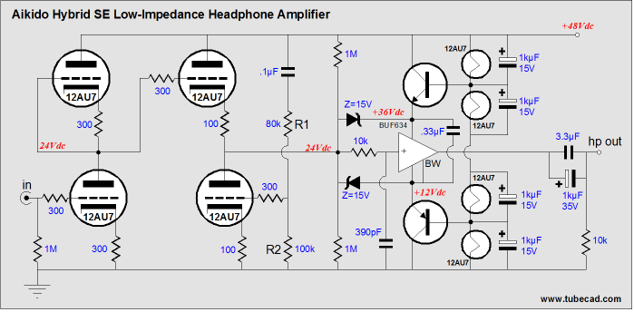 hybrid headphone amplifier circuit diagram