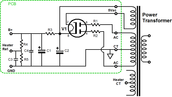 the configuration is classic tube power supply 5y3 tube rectifier