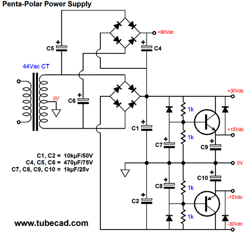 the voltage tripler circuit converts the 30v rail voltage into