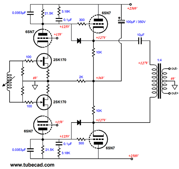 in addition push pull tube schematic on 6sn7 amplifier schematic