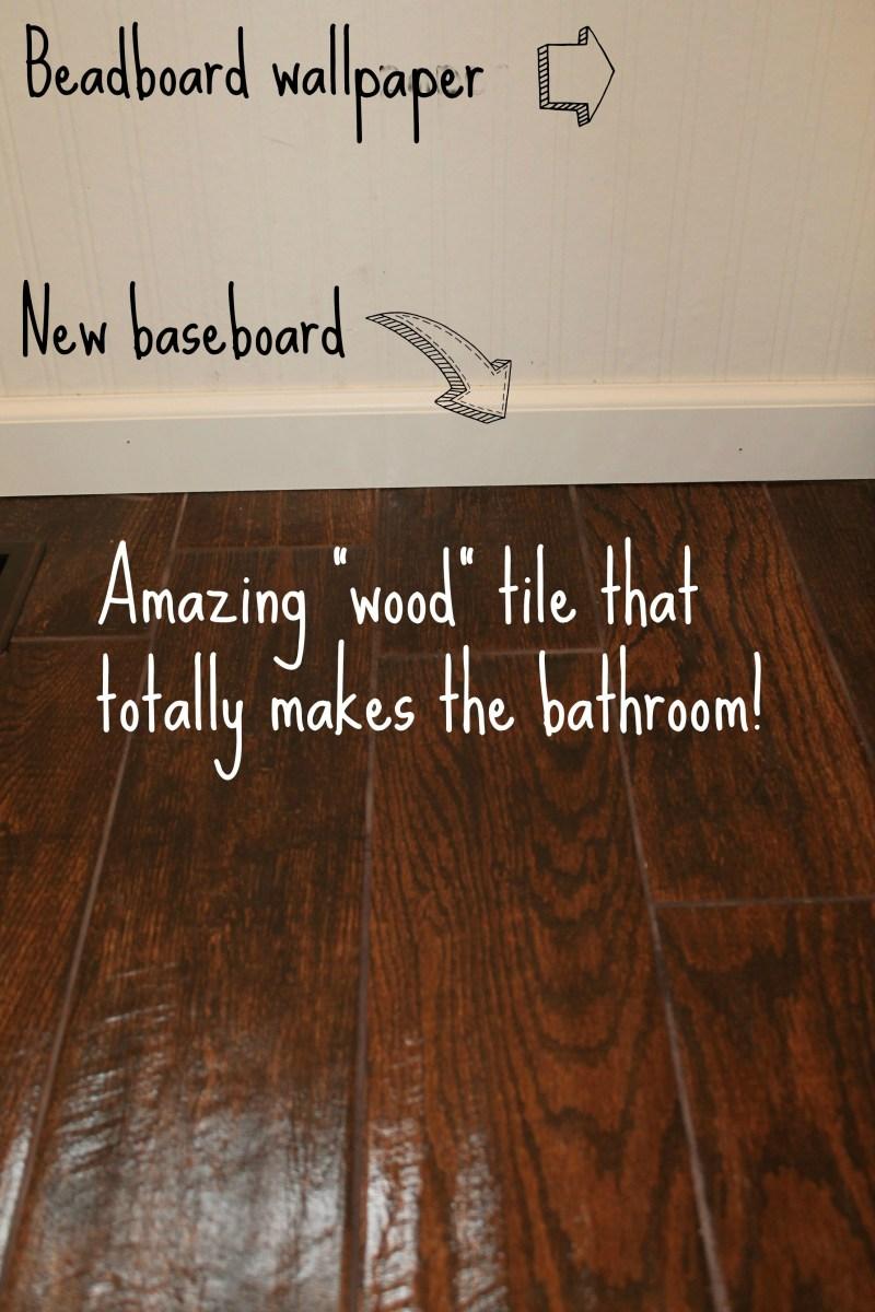 Bathroom Sneak Peak Wood Tile Tucking In Superheroes