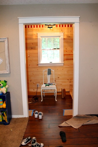 sawdust diaries mudroom plank wall