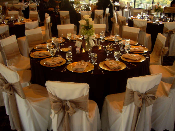 Beautiful Wedding Table Setting Chair Covers Bows My