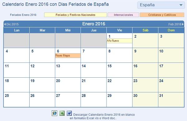 Calendario 2016 para imprimir, descarga más de 100 plantillas gratis