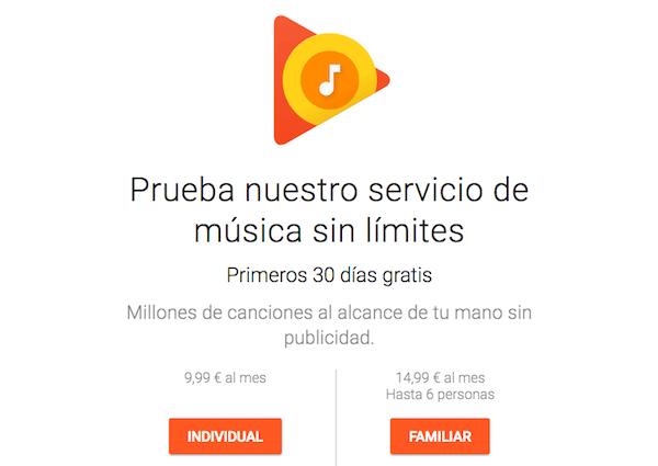 google play musica suscripcion