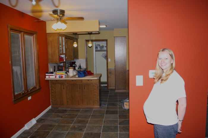 New Tile Floor (I was just 10 days away from giving birth, can you tell?)