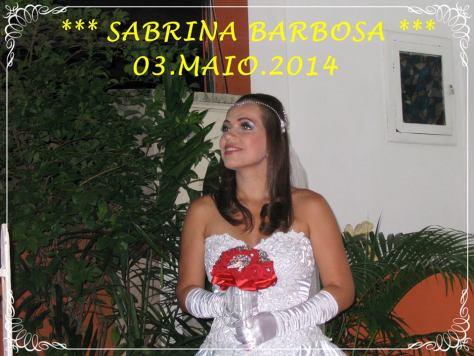 Na foto a bonita noiva Sabrina Barbosa.
